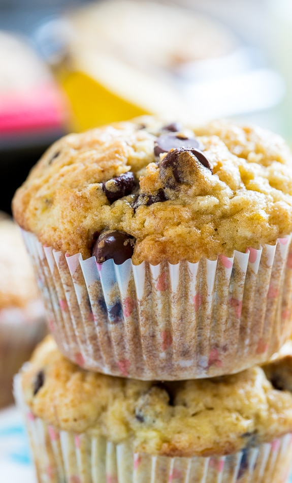 Banana Chocolate Chip Muffins - Spicy Southern Kitchen