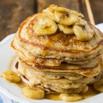 Banana Pancakes with Caramel Sauce
