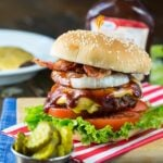 Western Barbecue Burger with bacon and grilled onions.