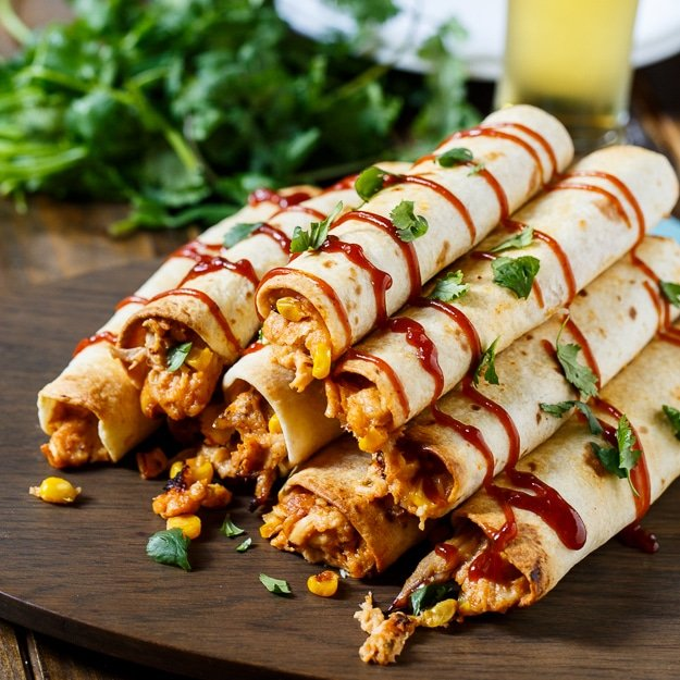bbq chicken taquitos are filled with shredded rotisserie chicken bbq ...