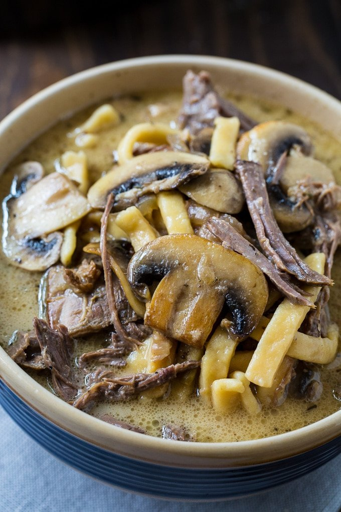 Slow Cooker Beef and Noodles with Mushrooms recipe