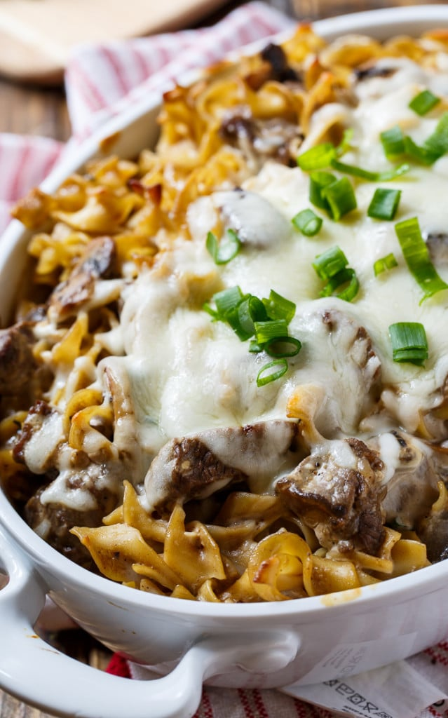 Beef Stroganoff Casserole- a creamy casserole with all the flavor of beef stroganoff plus melted mozzarella cheese on top.