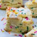 Funfetti Biscuits with glaze and sprinkles
