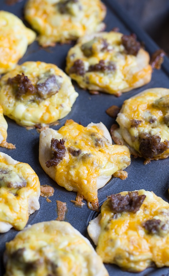 Mini Sausage Biscuit Cups made from refrigerated biscuits. #breakfast