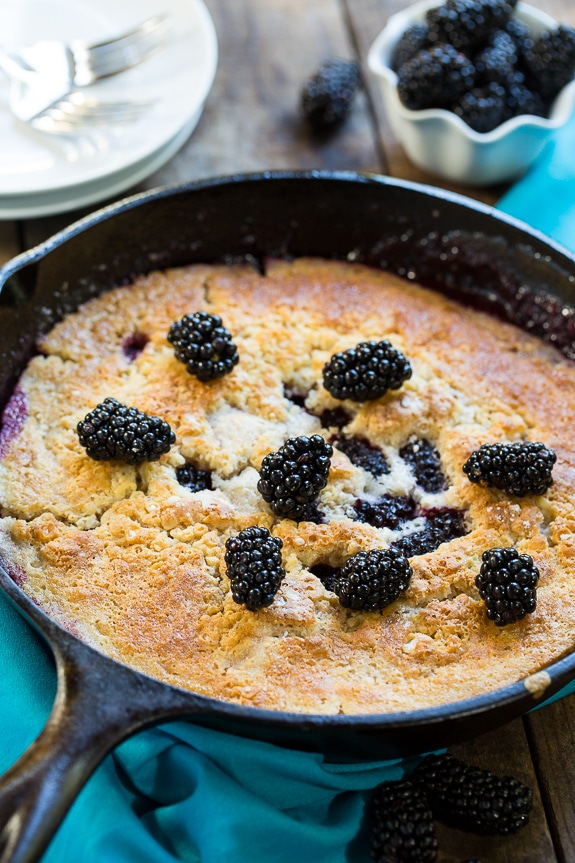 Easy Skillet Blackberry Cobbler. Serve warm with vanilla ice cream for the perfect summer dessert.