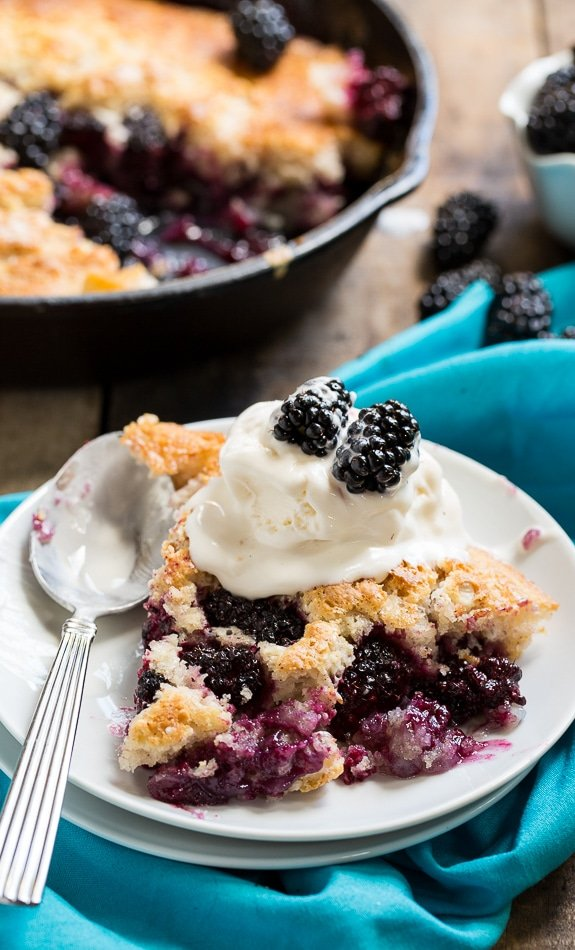 Easy Skillet Blackberry Cobbler. Serve warm with vanilla ice cream for the perfect summer dessert.