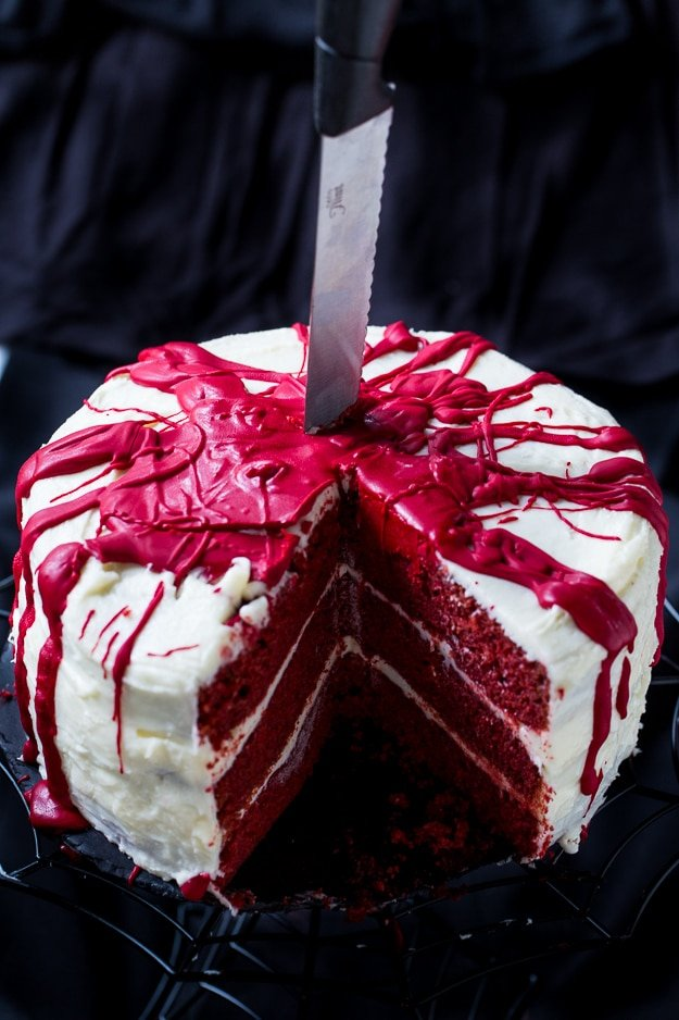Bloody Red Velvet Cake will add some gore to your Halloween.