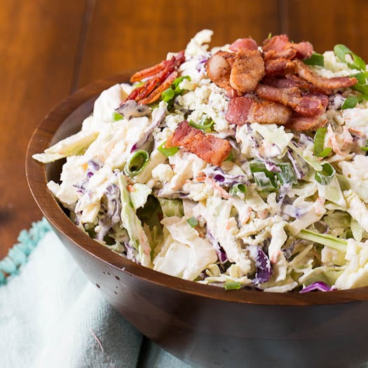 Creamy and crunchy Blue Cheese Bacon Coleslaw is the perfect tangy ...