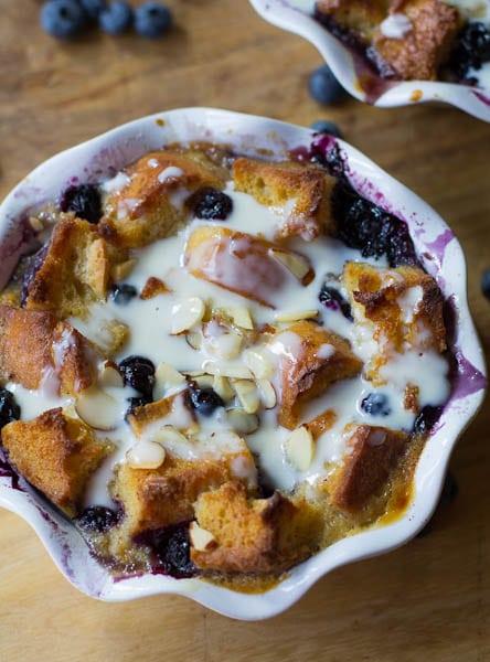 Blueberry White Chocolate Bread Pudding with Amaretto Cream