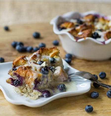 Blueberry White Chocolate Bread Pudding with Amaretto Cream Sauce ...