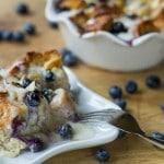 Blueberry Bread Pudding with Amaretto Cream