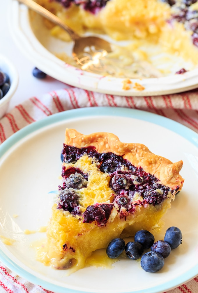 Blueberry Buttermilk Pie is creamy, sweet and tangy with fresh blueberries
