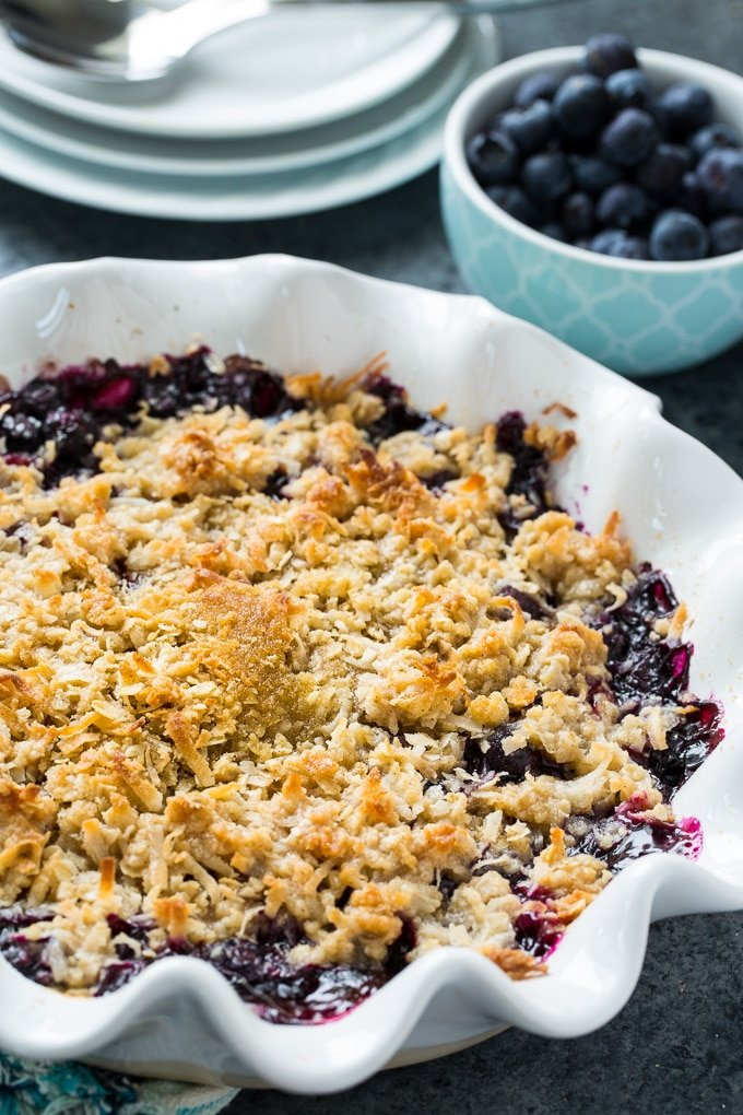 Blueberry Coconut Crisp made with fresh blueberries
