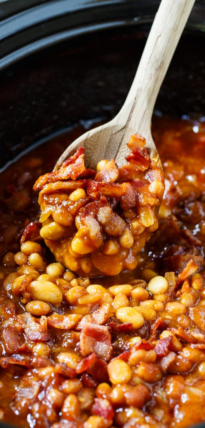 Spoonful of Slow Cooker Bourbon Baked Beans.