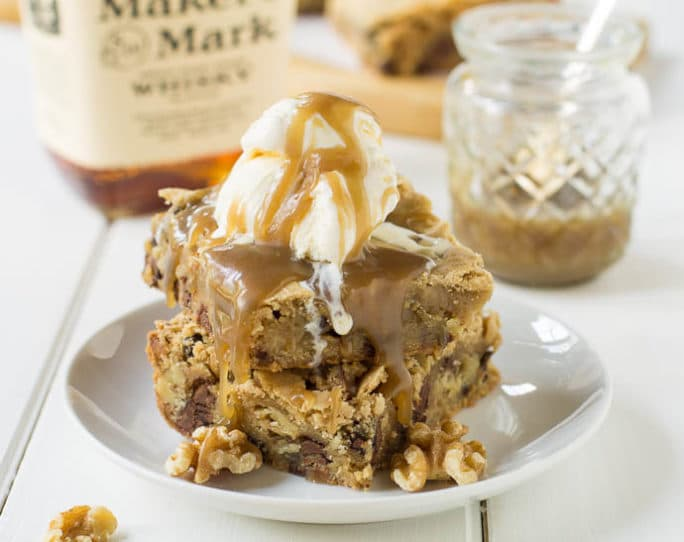 Chocolate Chip Blondies with Caramel-Bourbon Sauce - Spicy Southern ...