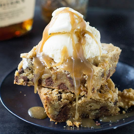 Chocolate Chip Blondies with Bourbon Sauce