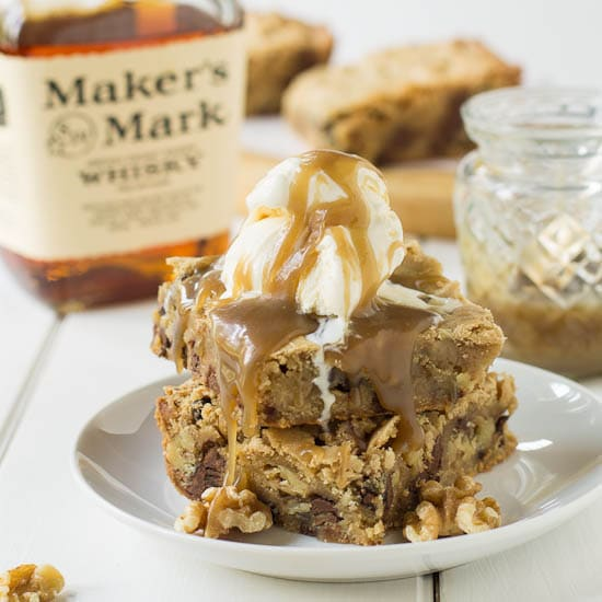 Chocolate Chip Blondie with Caramel-Bourbon Sauce