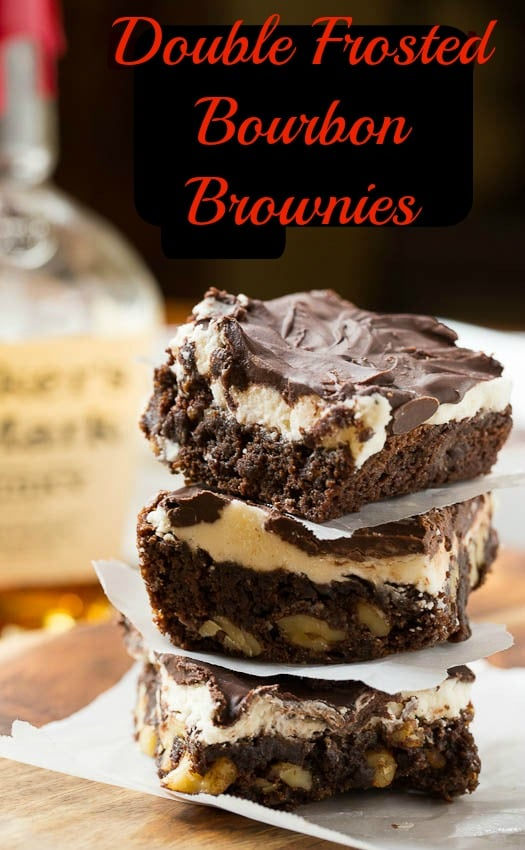 Double Frosted Bourbon Brownies with walnuts