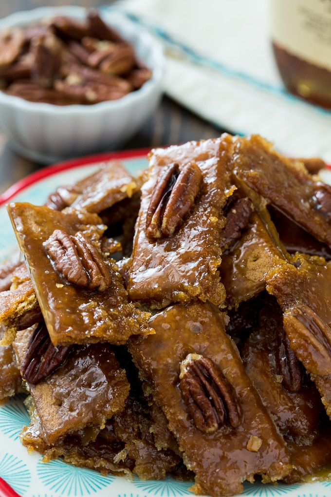 Bourbon Graham Cracker Candy with pecans