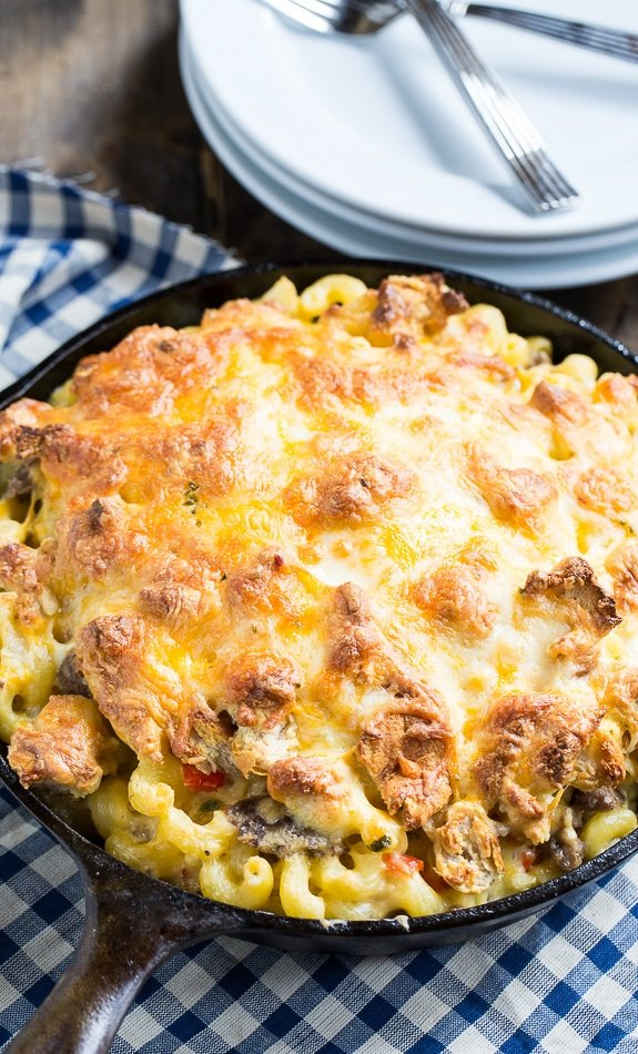 Breakfast Mac and Cheese with lots of sausage and crumbled biscuits on top.