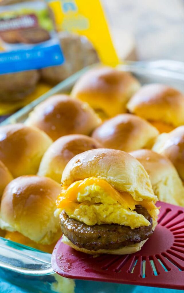 Easy Breakfast Sliders wit Sausage, egg, and cheese.
