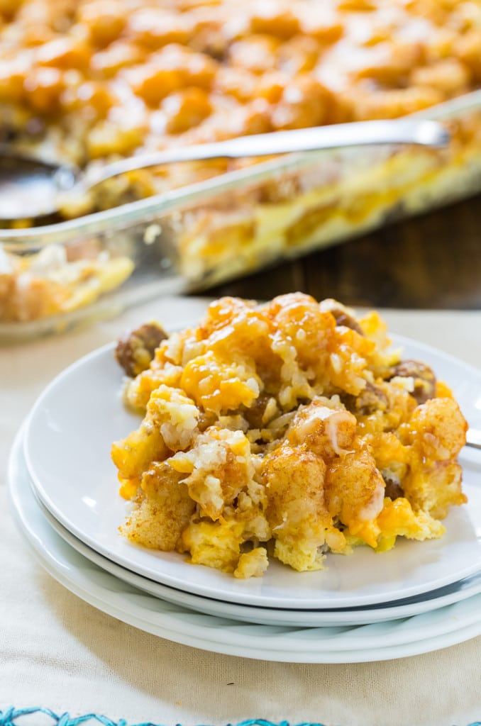 Breakfast Tater Tot Casserole with sausage and cheddar cheese.