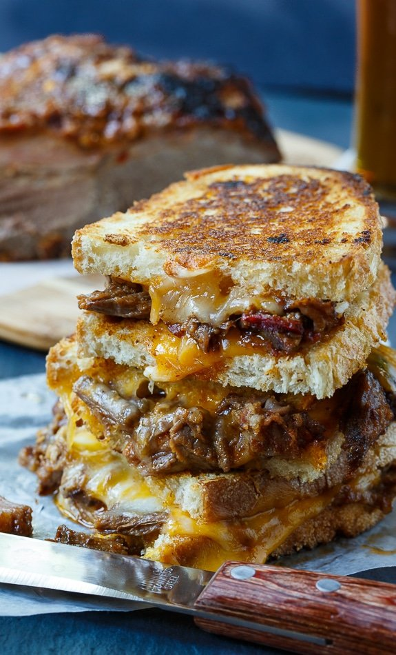 Brisket Grilled Cheese - the perfect way to use up leftover beef brisket.