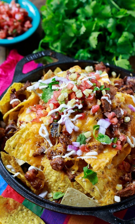 BBQ Brisket Nachos - perfect for game day and a great way to use up leftover brisket!