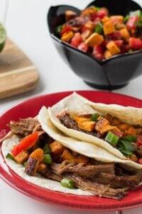 Brisket Tacos with Sweet Potato Salsa
