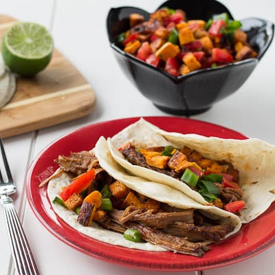 ... recipe for Chipotle Maple Beef Brisket Tacos with Sweet Potato