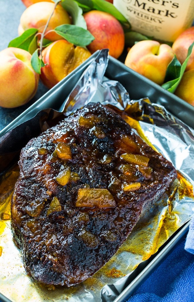 Oven Roasted Brisket with Bourbon Peach Glaze