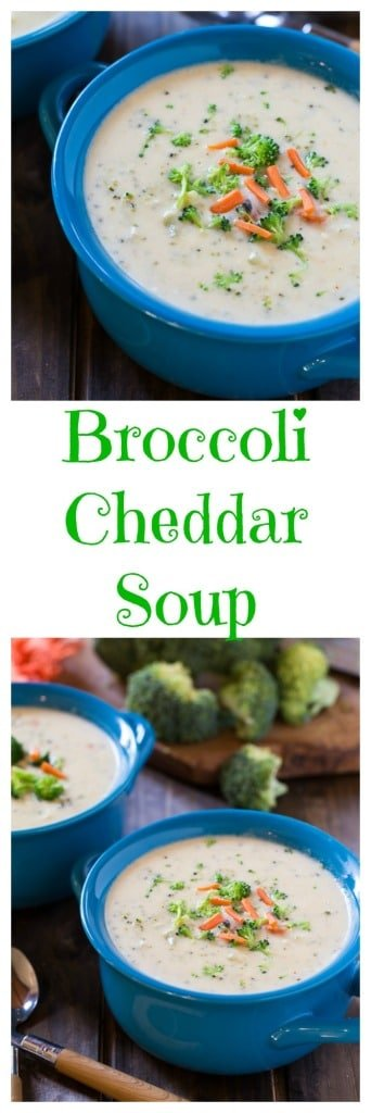 Creamy and rich Broccoli Cheddar Soup. Perfect comfort food for a cold night.