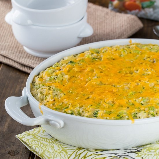 Broccoli Rice Casserole Cheese Whiz Water Chestnuts-1899