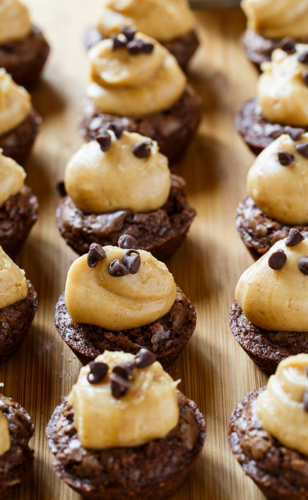 Peanut Butter Brownie Bites- brownie cups filled with a creamy peanut butter mixture.