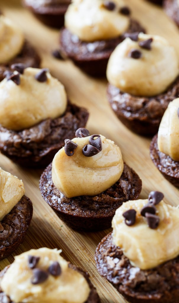 Peanut Butter Brownie Bites- little brownie cups filled with a creamy peanut butter mixture.