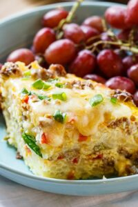 Spicy Crock Pot Brunch Casserole with sausage and hashbrowns.