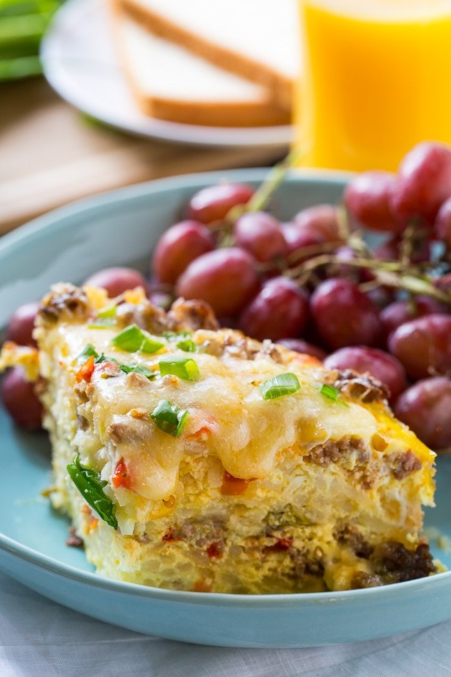 Spicy Crock Pot Brunch Casserole with sausage and hash browns