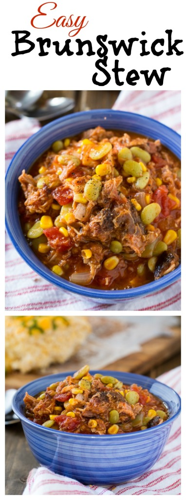Easy Brunswick Stew with pulled pork and chicken.