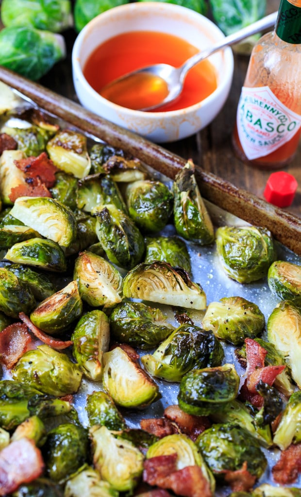 Roasted Brussels Sprouts with Bacon and Tabasco Honey Glaze