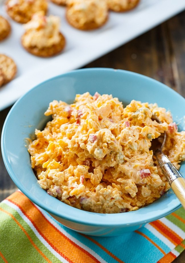Buffalo Pimento Cheese flavored with hot sauce and blue cheese.