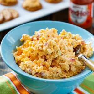 Buffalo Pimento Cheese spiced up with hot sauce and blue cheese.