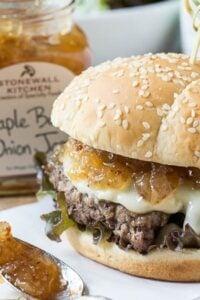 Burgers with Maple Bacon Onion Jam