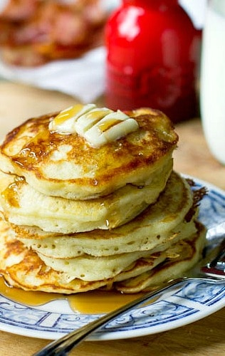 Simply perfect Buttermilk Pancakes. Light, fluffy, and buttery.