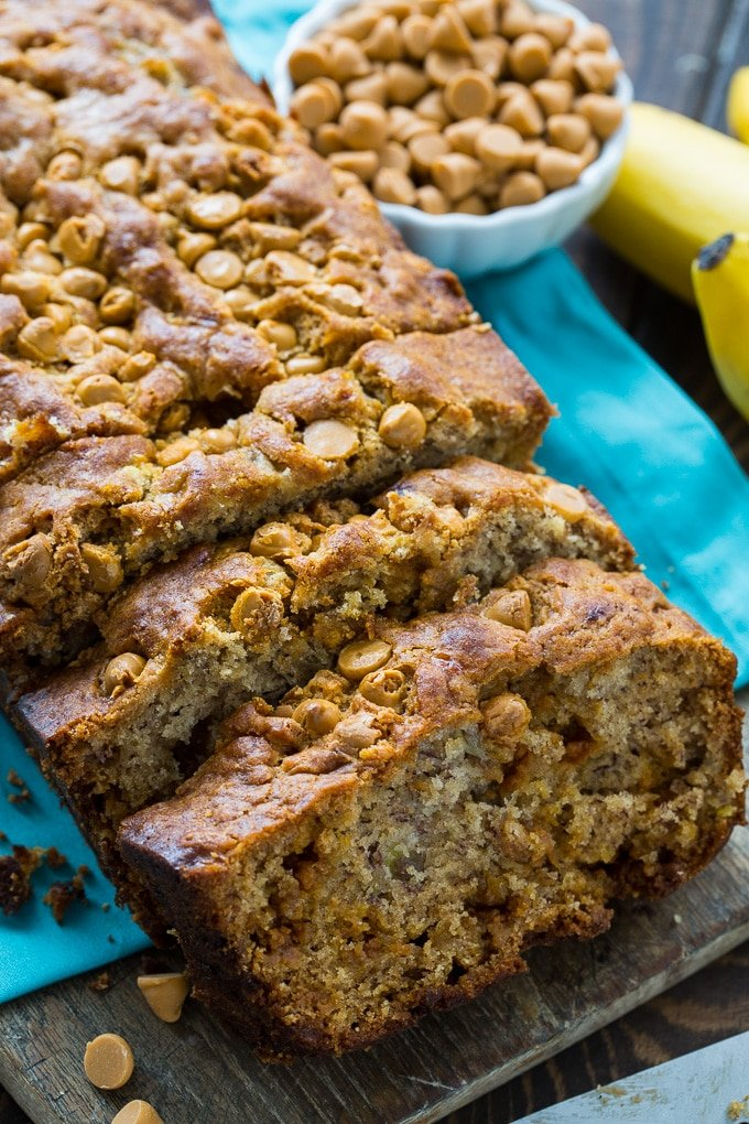 Butterscotch Banana Bread is moist and delicious with lots of butterscotch morsels