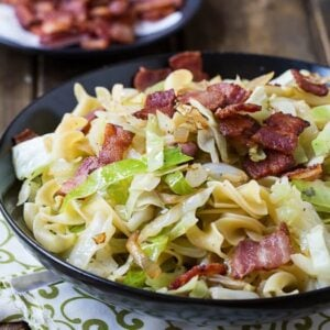 Cabbage and Egg Noodles cooked with bacon. Super easy comfort food.