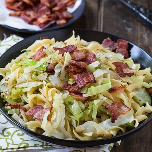 Cabbage and Noodles cooked in bacon