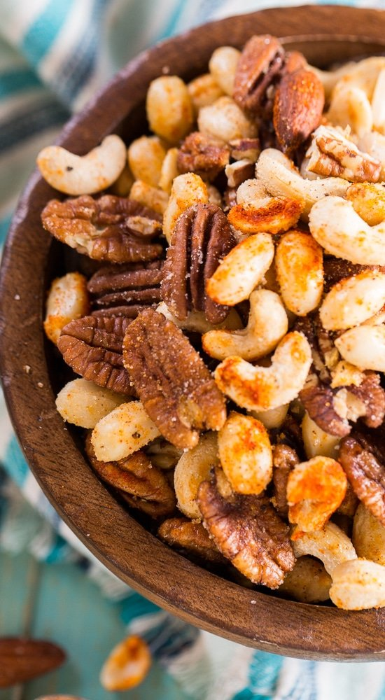 Cajun Nuts -make a great party snack. Flavored with plenty of spices, some sugar, and a little bacon grease.