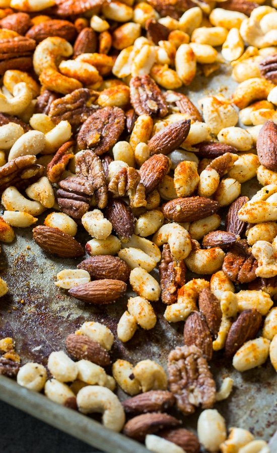 Cajun Nuts - make a great party snack or holiday appetizer. Flavored with plenty of spice, some sugar, and bacon grease!