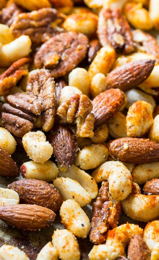 Cajun Nuts - make a great party snack or holiday appetizer. Flavored with plenty of spices, some sugar, and a little bacon grease!