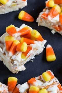 Candy Corn Fudge with pretzels and white chocolate